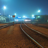 Night shot of railway station. Royalty Free Stock Photos
