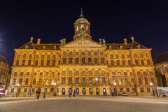 Night shot of Royal Palace at Dam Square Royalty Free Stock Photography
