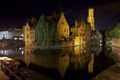 Night shot of Rozenhoedkaai in Bruges (Brugge). Wide night shot of Rozenhoedkaai canal in Bruges (Brugge) in Belgium Stock Image