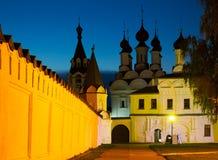Night shot of russian monastery Royalty Free Stock Photos