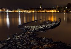 Stockholm at night. Night shot with ship wreck Stock Photo