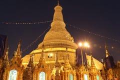 Night shot of The Shwedagon Pagoda, also known as the Golden Pagoda, Yangon Myanmar stock image