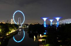 Night shot of Singapore Flyer Gardens by the Bay and water reflections Royalty Free Stock Images