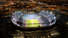Night shot of sports authority field. Downtown Denver. From DJI Mavic Stock Photo