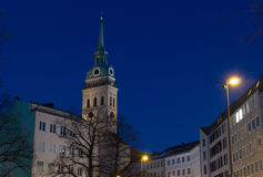 Night shot of St. Peter`s Church Peterskirche in Munich, Germa Stock Photography