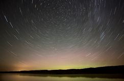 Night Shot Star Trails lake Royalty Free Stock Photography