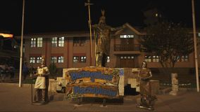 Night shot of the pachacuti statue in aguas calientes. Night shot of the statue of the incan leader, pachacuti, in aguas calientes, peru stock video footage