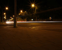 Night shot of a street with a long exposure time Royalty Free Stock Images