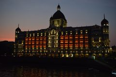Night shot of taj mahal palace 5 star luxury hotel & the iconic sea-facing landmark in Colaba, South Mumbai stock images