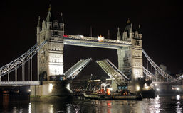 Night shot of Tower Bridge Stock Photos