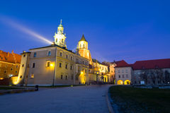 Night shot of Wawel Castle in Krakow, Poland Stock Photo