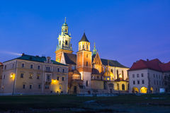 Night shot of Wawel Castle in Krakow, Poland Royalty Free Stock Photos