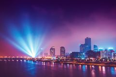 Night shot of Yeouido island with lots of lights seen- buisness district of Seoul, South Korea. Night view of illuminated Yeouido island - buisness district of Stock Photography
