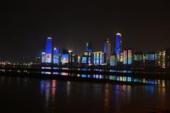 Night shots of nanchung city and waterfront views Royalty Free Stock Photos