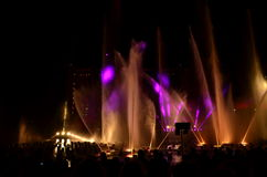 Night show. Beautiful color fountains Royalty Free Stock Photography
