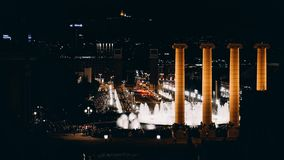 The night show of singing fountains. Barcelona. Spain royalty free stock images