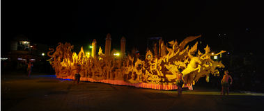 Night show of traditional candles . Anniversary worship in Buddhism . Stock Photos