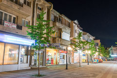 Night showcases of Pomorie shops in Bulgaria royalty free stock photography