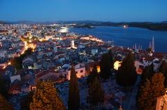 Night sibenik. Moon lighted sibenik town croatia Stock Image
