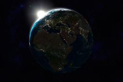 Night side of Earth, Europe, Africa, Asia Royalty Free Stock Images