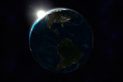 Night side of Earth, North and South America Royalty Free Stock Photo