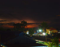 Night Siem Reap and thunderstorm over the horizon Stock Images