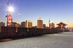 Night sight of ancient xian city wall stock image