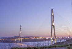 Night sight with bay bridge in Vladivostok russian island Royalty Free Stock Photography