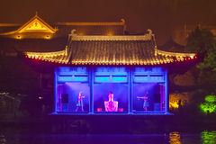Night sight scenery of Two River and Four Lakes. It is a popular tour spot of Guilin City Stock Image