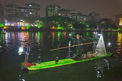 Night sight scenery of Two River and Four Lakes. It is a popular tour spot of Guilin City Royalty Free Stock Images