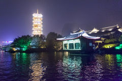 Night sight scenery of Two River and Four Lakes. It is a popular tour spot of Guilin City Royalty Free Stock Photos