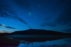 Night silence. The starry sky above the lake in the early morning Royalty Free Stock Photo