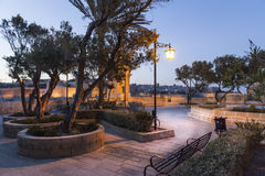 Night silence. Small park in Malta, in front of the city, late afternoon Stock Images