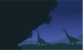 At night silhouette of brachiosaurus Stock Photos