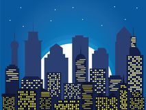 Night silhouette of the city and full moon with stars, cartoon   Royalty Free Stock Images