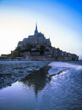 Night silhouette of Mount St. Michael, France Royalty Free Stock Images