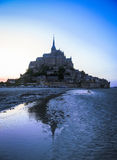 Night silhouette of Mount St. Michael, France Stock Photos