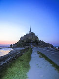 Night silhouette of Mount St. Michael, France Royalty Free Stock Photos