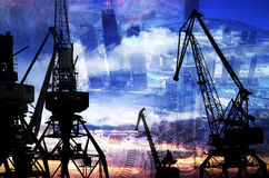 Night silhouettes of cargo cranes in the sea port against the backdrop of modern skyscrapers double exposur Royalty Free Stock Photos