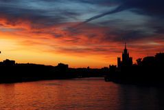 Night Silhouettes of Moscow Royalty Free Stock Image