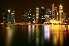 Night of singapore river. CBD of Singapore at night Stock Photos