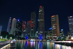 night singapore skyline Στοκ Εικόνες