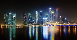 Night Singapore skyscrapers shines with lights Royalty Free Stock Photo