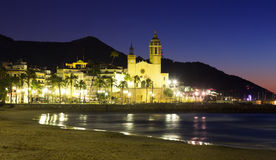 Night  of  Sitges with Church and sea Stock Image