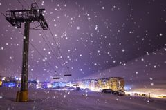 Night on ski resort Pas de la casa, Andorra Stock Photography