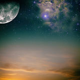 Night skies. With moon, stars and nebula stock illustration