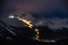 Night skiing Stock Image