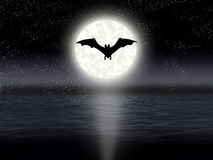 Night sky. Flight bat on background of the full moon Stock Images