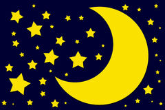 Night sky. Moon and stars illustration on blue background Royalty Free Stock Image