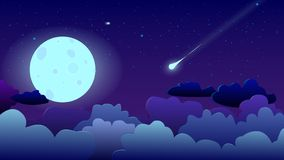Night sky a flying comet . stock illustration
